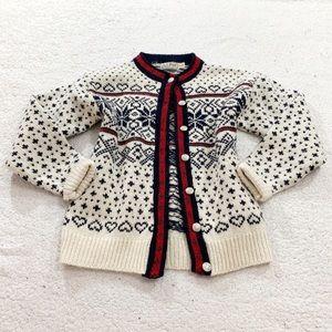 Ll bean heart snowflake Nordic sweater ivory